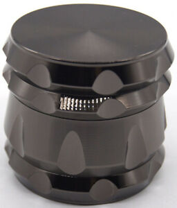 2.2quot; 4 Layer Drum Metal Tobacco Herb Spice Crusher Hand Muller Grinder Black