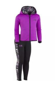 NWT Girls UNDER ARMOUR Outfit! Zip Up Hoodie And Leggings Purple Size 6x