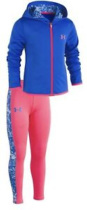NWT Girls UNDER ARMOUR Outfit! Zip Up Hoodie And Leggings Blue Pink Size 5