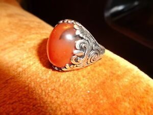 Turkish Handmade Jewelry 925 Sterling Silver Agate Stone Men's Ring Sz 11-super