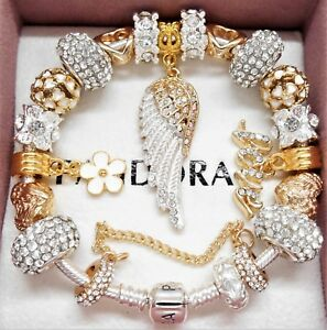 Authentic Pandora Charm Bracelet With Gold Angel Wing Crystal European Charms.