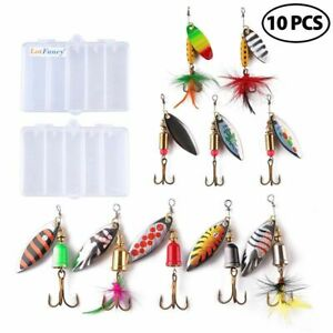 Fishing Lures Spinnerbaits Metal Spinner Baits Kit for Bass Trout Salmon 10pcs