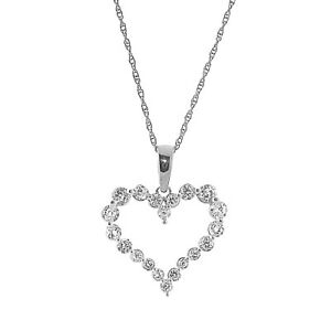 14k White Gold FN 1.2CT Round Cut Diamond Heart Shape Pendant Necklace Chain 18