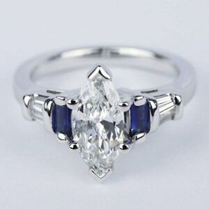 5.55Ct White Marquise Cut Diamond 14K W  Gold Certified Engagement Wedding Ring