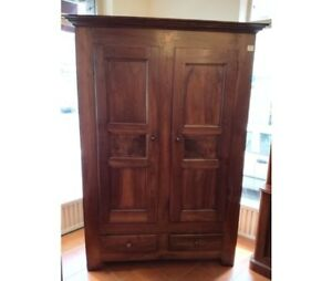 Antique Rustic WardrobeCabinet in Walnut and Larch - Restored