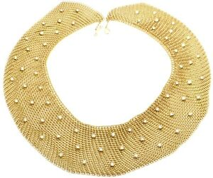 Authentic! Tiffany & Co Elsa Peretti 18k Yellow Gold Diamond Large Mesh Necklace