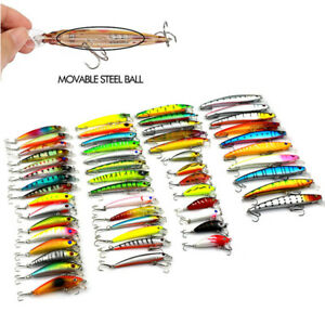 USA 53Pcsset 3D Eyes Mixed Minnow Fishing Lures For PikesBassTrout Walleye
