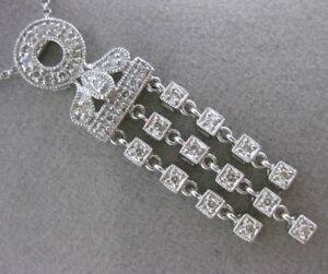 ESTATE .37CT DIAMOND 14KT WHITE GOLD FILIGREE MILGRAIN FLOATING DROP NECKLACE