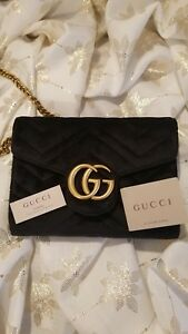 GUCCI MARMONT QUILTED GG CHAIN SHOULDER BAG BLACK VELVET PREOWNED