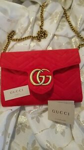 GUCCI MARMONT QUILTED GG CHAIN SHOULDER BAG RED VELVET PREOWNED