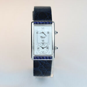 Chopard 2240 18K White Gold Sapphire Bezel Dual Time Zone With Box