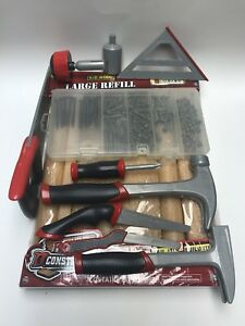 Real Construction🔨 Lot Tools Hammers Screws Kid Wood Drivers Hand Saws Case