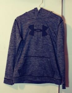 Under Armour Storm,Youth XL Hoodie, Black and Gray Pattern Black Logo EUC $24.88