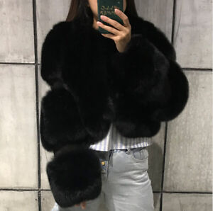 Women's 100% Real Full Pelt Fox Fur Coat Short Cropped Jacket Cape Party Poncho