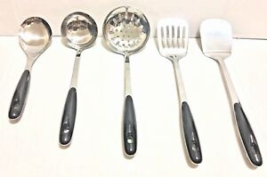 5pcs SET Stainless Steel Chinese Cookwares Soup Ladle, Strainer, turner, spoon.