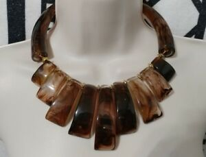 Huge Brown End of Day HornChunks Lucite Necklace Choker