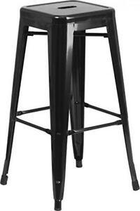 Flash Furniture 30'' High Backless Black Metal Indoor-Outdoor Barstool with...