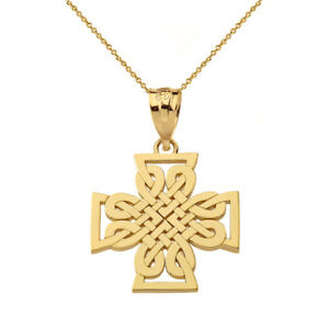Solid 14k Yellow Gold Religious Woven Celtic Cross Pendant Necklace