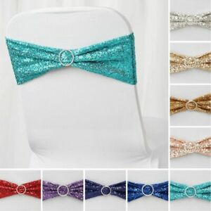 100 Spandex Sequined CHAIR SASHES Ties Wraps Wedding Party Decorations SALE