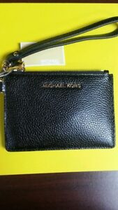 Michael Kors Small Top Zip Coin Pouch ID Mini Wallet Black Leather $58 NWT