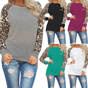 Womens Leopard Raglan Long Sleeve T Shirt Casual Tops Basic Tee Blouse Sweater