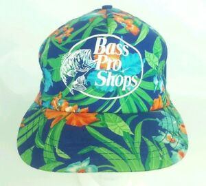 Vtg 90s Bass Pro Shops Hawaiian Floral Tropical Trucker Hat Snap Back Green Blue