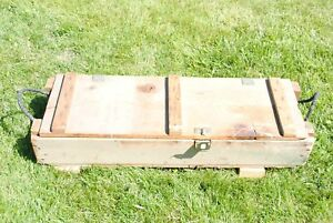 VINTAGE MILITARY WOODEN AMMO CRATE BOX AMMUNITION CANNON HOWITZER EXPLOSIVES