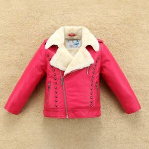 Fleece Thick Boys Girls Leather Jacket with Fur Collar Kids Motor Coat Bomber