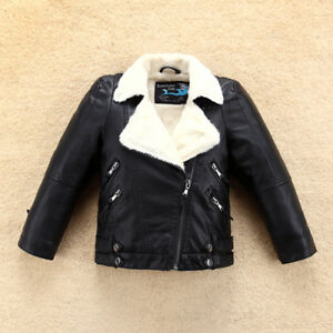 New Girls Fleece Leather Jacket with Fur Collar for Winter Kids Boys Coat Bomber