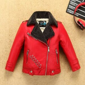 Snow-proof Fleece Boys Girls Leather Jacket fur Collar Kids Motor Coat Bomber