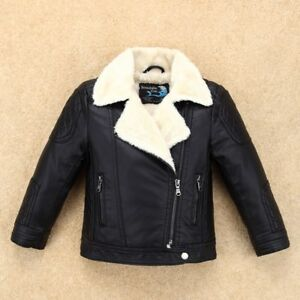 Thicken Fleece Boys Girls Leather Jacket for Kids Motor Coat Bomber Soft Leather