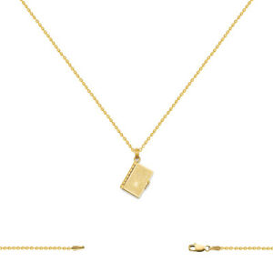 14k Yellow Gold Textured Holy Bible Charm Necklace