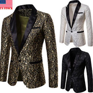 Men's Suit Coat Casual Slim Formal One Button Blazer Jacket Tops Fashion Casual