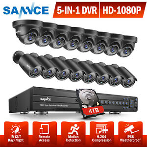 SANNCE Full 1080P 16CH DVR 2MP IR Bullet& Dome Security Camera System 0- 4TB HDD