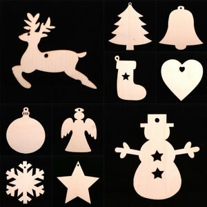 Christmas Tree Hanging Ornaments Wooden DIY Craft Pendant Party Accessories
