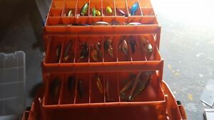 Tackle Box Loaded lot spoons crank baits top water bass walleye 116 lures.