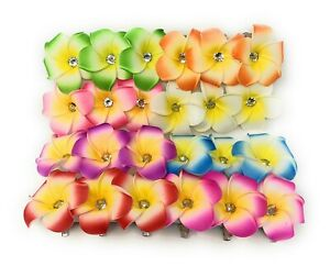 10 PCS Hawaiian Plumeria Flower Foam Hair Clip Fashion Hair Accessory Zircon.