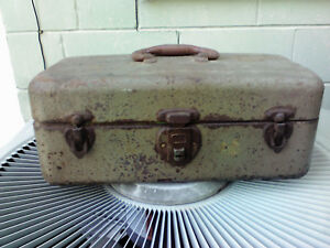 vintage fishing lure rusty tackle box full of lures some very old glass eyed