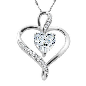 14k White Gold Over Solitaire Heart Shape Diamond Pendant Necklace Chain 18