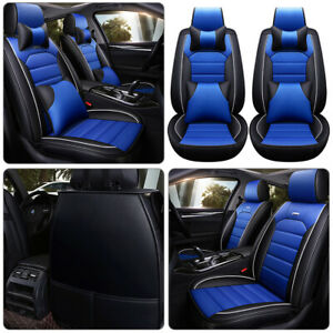 1× Blue Car Seat Covers 100% PU Leather Front Rear Auto Deluxe Cushion Universal