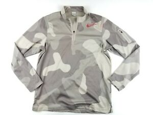 Mens Nike Pre Lives Running Pullover Shirt Size L Large Camo Fit Dry Long Sleeve
