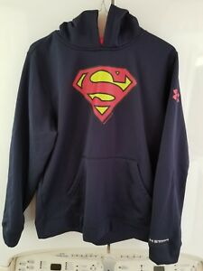 Boys Under Armour Storm Blue Superman Pullover Sweatshirt Hoodie Sz YXLG  XLarge