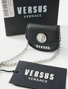 New VERSUS VERSACE Black Saffiano Leather MINI BAG Necklace Charm Pendant