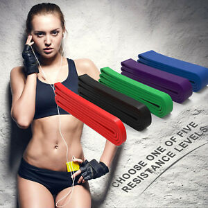 RESISTANCE BAND YOGA PILATES HOME GYM FITNESS EXERCISE WORKOUT TRAINING Lot New