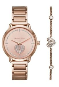 Michael Kors Ladies Portia Rose Gold -Tone Watch  Bracelet Set - MK3827