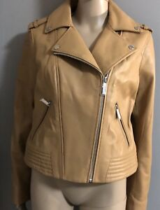 NWT $450 Camel Leather Moto Jacket by Michael Kors size Large