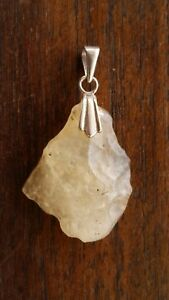 Libyan Desert Glass (Golden Tektite) .925 Solid Sterling Silver Pendant 5.7grams