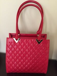 Valentino Couture Red & Gold Leather Supple Soft Signature Tote Handbag