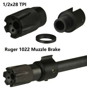 Ruger 1022 Low Concussion Muzzle Brake Compensator 12x28 TPI W Slip On Adapter