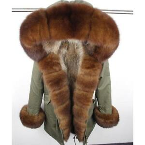 Women's Luxury Real Fur Collar Trench Hooded Coat Mid Long Winter Thicken Parka